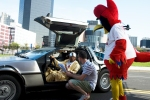 Ozzie Smith with Doc Crotzer and Fredbird preparing for the final scene of #BirdToTheFuture