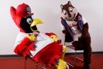 Fredbird & the Rally Squirrel demonstrating their amazing acting  & posing skills