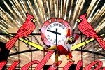 Fredbird seeks a power source for his time machine...creatively enhanced image from the Cardinals Archives