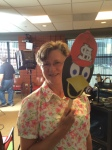 Paula Homan, Curator of the Cardinals Hall of Fame & Museum with her Fredhead during the production of #BirdToTheFuture
