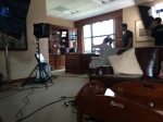 Bill DeWitt III, Cardinals Team President, prepares for a scene during the production of #BirdToTheFuture