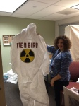 Amy Berra, Assistant Curator of the Museum, shows off her handiwork in costume production...Fredbird's Hazmat Suit...can you guess the size?
