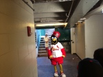 Fredbird and Sam Berra (as a young Bill DeWitt Jr.) in the homage to the Mean Joe Green Coke commercial....