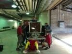 Time machine construction team with Fredbird.  Barry Abbett (Carpenter), Elroy Gretzmacher (Mechanic), Hosei Maruyama (Director Stadium Ops), Greg Pauli (Cardinals IT) and Joe Schindler (Carpenter)