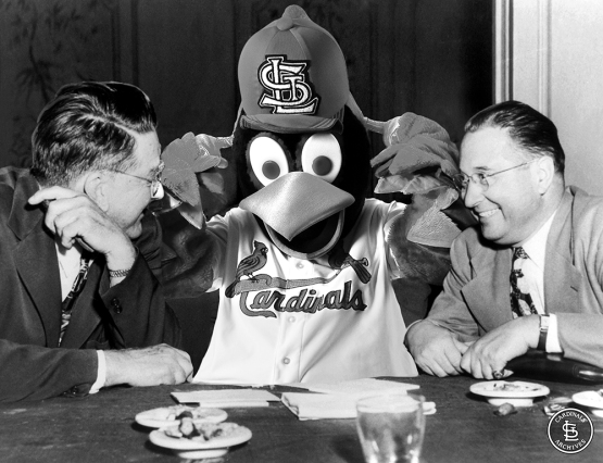 Branch Rickey, Fredbird and Bill DeWitt Sr. - photo from the Cardinals Archives - creatively enhanced by Rachel Brady of the Cardinals Communications Department.