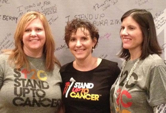 Melody Yount, Manager of Communications for the St. Louis Cardinals, stands with Shannon Forde (left), PR Director for the New York Mets and in the cancer fight, along with Monica Barlow, Director of Public  Relations for the Baltimore Orioles (right) at the 2012 Winter Meetings during the kick-off of the first PR Auction to raise money for the fight against Cancer.