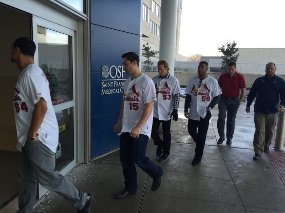 Cardinals Caravan #6 arrives at Children's Hospital of Illinois.