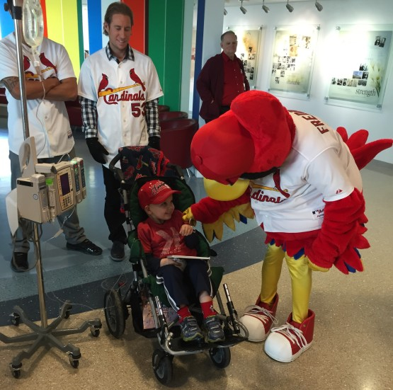 Not only did he get to try on a World Series Championship ring, he got to meet his favorite mascot, Fredbird!