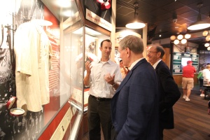 Bill DeWitt III & Bill DeWitt Jr. lead Commissioner Selig on a tour of the Cardinals Hall of Fame & Museum