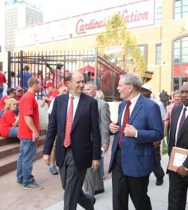 Commissioner Selig & Bill DeWitt Jr. on Clark Street in front of Busch II & Cardinals Nation