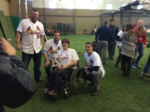 The Cardinals pose for pictures with loyal fans from Springfield.
