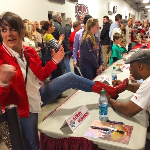 The Cardinals sign autographs for fans at the JQH Arena in Springfield.