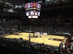 The Cardinals are introduced to a loud ovation during halftime at the Bass Pro Basketball Tournament at the JQH Arena in Springfield.