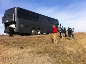 Just outside of Joplin, the Cardinals Caravan is delayed when the bus blows a tire, damaging the engine etc.