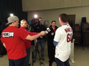 The Cardinals talk to media in Joplin before the Cardinals Caravan program begins.