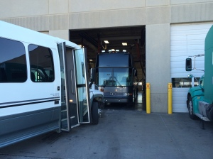 The group visits the repair facility in Joplin before leaving for Rolla to make sure all luggage in transferred to our new bus.