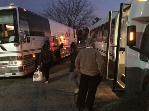 The Cardinals Caravan transitions to the third and last bus of the trip in Rolla