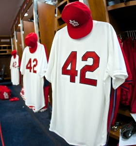 St. Louis Cardinals jerseys with the number 42 in honor of Jackie Robinson Day hang in the clubhouse prior to Cardinals vs. Brewers game on April 15, 2015 at Busch Stadium in St. Louis, MO.