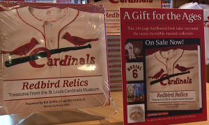 Redbird Relics: Treasures from the Cardinals Museum, on display in the Authentics Shop.