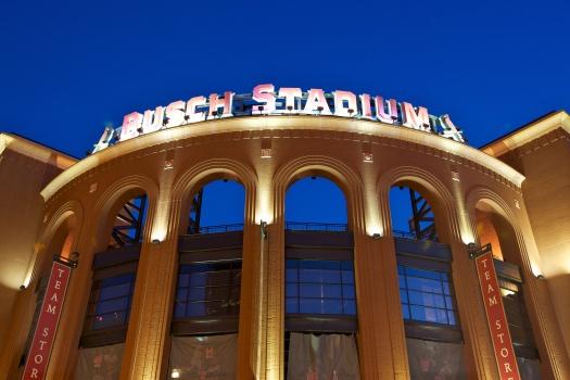 Busch Stadium at dusk on October 15, 2010.